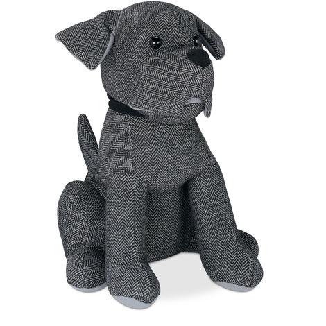 Relaxdays Dog Doorstopper, Decorative Floor Bumper, Standing, Filled Fabric Door Stop, 33 cm Tall, Grey