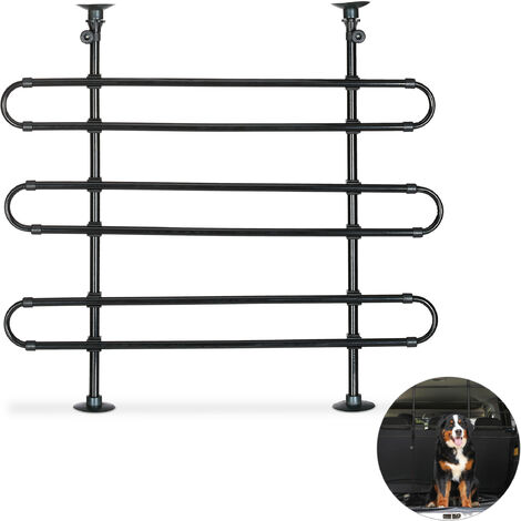 Relaxdays Dog Guard For Cars, To Clamp, Universal Safety Barrier, Adjustable Height & Width, Black