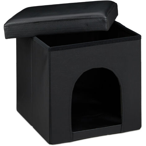 Relaxdays Dog House Ottoman, Size: 38 x 38 x 38 cm Sturdy Seat Box with Practical Hole for Pets, Dog and Cat Box made of High Quality Faux Leather with Removable Lid for the Living Room, Black