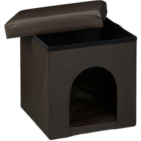 Relaxdays Dog House Ottoman, Size: 38 x 38 x 38 cm Sturdy Seat Box with Practical Hole for Pets, Dog and Cat Box made of High Quality Faux Leather with Removable Lid for the Living Room, Brown