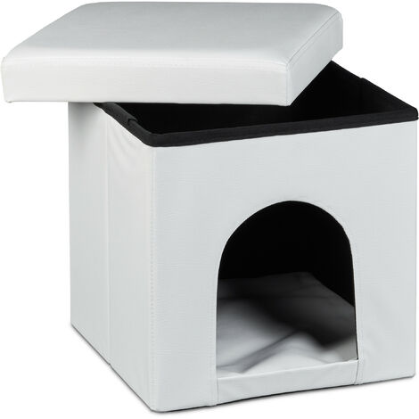 Relaxdays Dog House Ottoman, Size: 38 x 38 x 38 cm Sturdy Seat Box with Practical Hole for Pets, Dog and Cat Box made of High Quality Faux Leather with Removable Lid for the Living Room, White