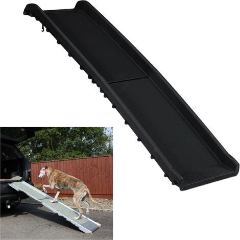 Relaxdays Dog Ramp for Car, Foldable, Anti-Slip Surface, Extendable, Max. Capacity of 90 kg, Plastic, 156x40 cm, Black