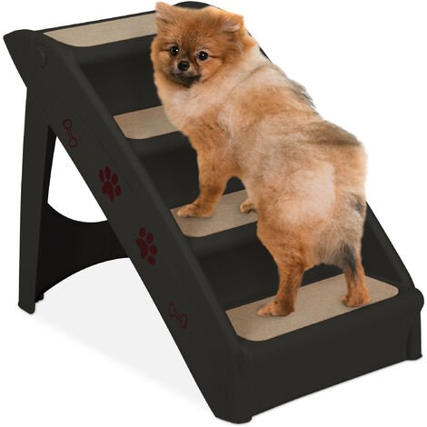 Relaxdays Dog Stairs, 4 Steps, Pets Access Ramp, Climbing Aid Bed, Sofa & Car, Max. 100 kg, 49x39x61 cm, Black