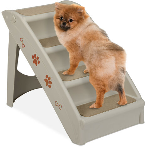 """main image of """"Relaxdays Dog Stairs, 4 Steps, Pets Access Ramp, Climbing Aid Bed, Sofa & Car, Max. 100 kg, 49x39x61 cm, Grey"""""""
