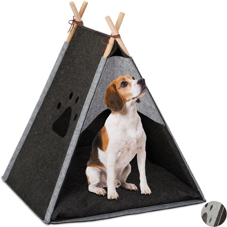 Relaxdays Dog Tent, Large Teepee Retreat for Cats, Felt & Wood, Cushion, 70.5x59.5x59cm, Dark Grey
