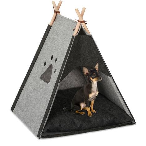 Relaxdays Dog Tent, Large Teepee Retreat for Cats, Felt & Wood, Cushion, 70.5x59.5x59cm, Light Grey