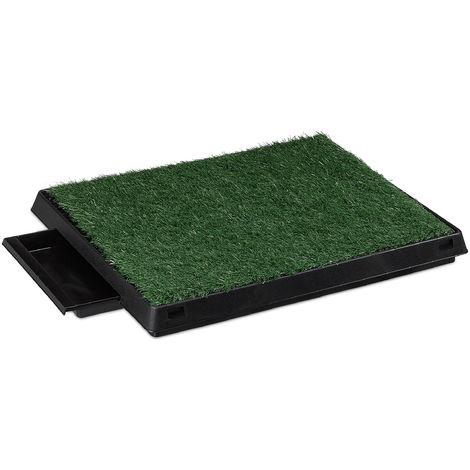 Relaxdays Dog Toilet, Waste Tray, Indoor, Grass Mat, Litter Tray, Puppy Potty Training, 7 x 62.5 x 50 cm,Black/Green