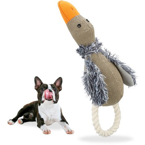 Relaxdays Dog Toy Duck, Squeaker & Rope, For Big & Small, Plush, Robust, Grey/Brown
