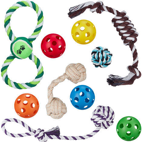 Relaxdays Dog Toy Set Of 10, 5 Balls, Tug & Chew Toys, Puppy, Small & Medium Dogs, Multipack, Colourful