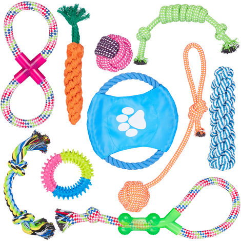 Relaxdays Dog Toy Set Of 10, Tug Toys, Bite & Chew Toys, Dog Frisbee, Puppy, Small & Medium Dogs, Multipack, Colourful