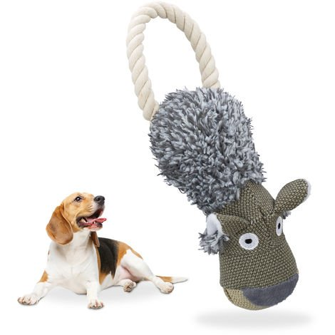 Relaxdays Dog Toy Wolf, Squeaks, With Rope, Tug & Pull Toy,Big & Small Dogs, Robust, Doggy Cuddly Toy, Grey