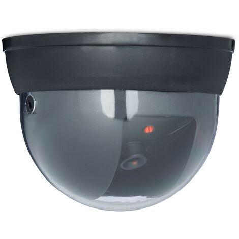 Relaxdays Dome Dummy Camera with LED Light, With Adjustable Camera Blink, Security Camera, Fake Camera, Black