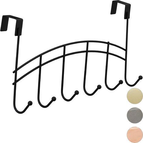 Relaxdays Door Coatrack, Curved Hook Bar, Hanging, 6 Hooks, Metal, 21x40x10.5 cm, Black
