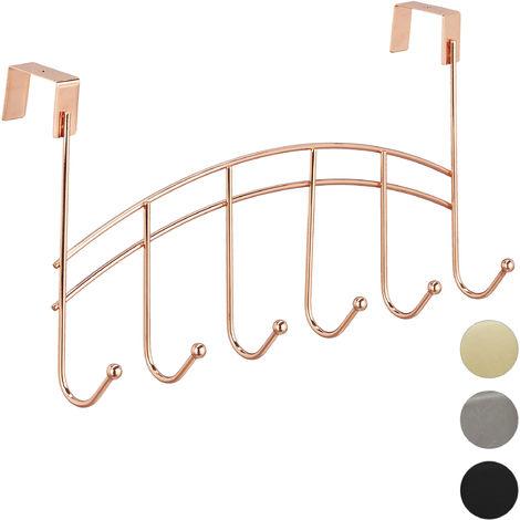 Relaxdays Door Coatrack, Curved Hook Bar, Hanging, 6 Hooks, Metal, 21x40x10.5 cm, Copper