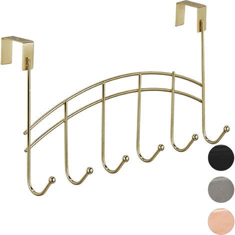 Relaxdays Door Coatrack, Curved Hook Bar, Hanging, 6 Hooks, Metal, 21x40x10.5 cm, Gold