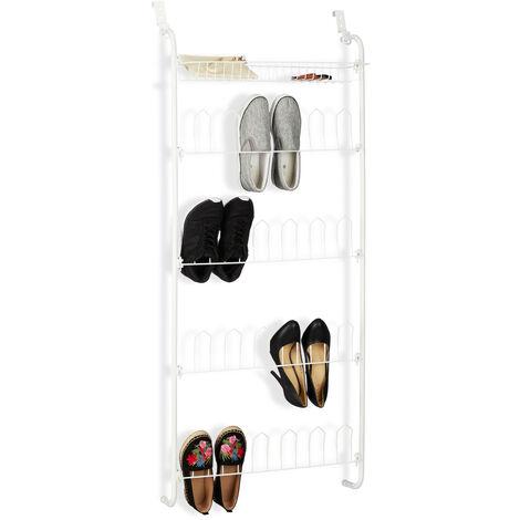 Relaxdays Door Shoe Shelf, 12 Pairs, Basket, Hanging 4-Tier Shoe Organiser, Iron, HWD: 144 x 60 x 19 cm, White