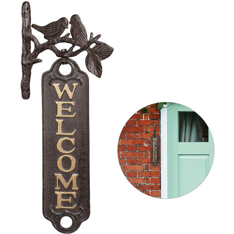 Relaxdays Door Sign Birds Welcome, Decorative Cast Iron Greeting Plaque, Vintage Garden Wall Décor, 39.5 cm, brown/gold
