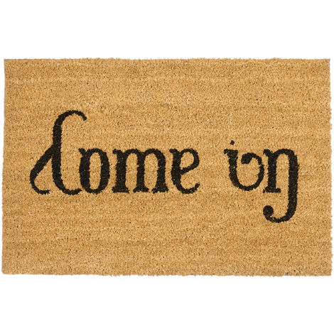 Relaxdays Doormat Come In / Go Away Coir Floor Mat with PVC Anti-Slip Underside Coconut Fiber Welcome Mat, Natural