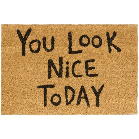 "Relaxdays Doormat ""You Look Nice Today"" Coir Door Mat 40 x 60 cm Welcome Mat with PVC Anti-Slip Underside Coconut Fibre Floor Mat, Natural"