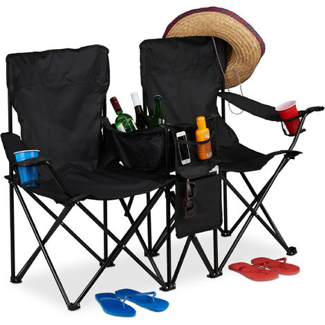 Relaxdays Double Camping Chair, Portable Fishing Seat with Drink Holders, Cooler, Pouches, Folding, Black
