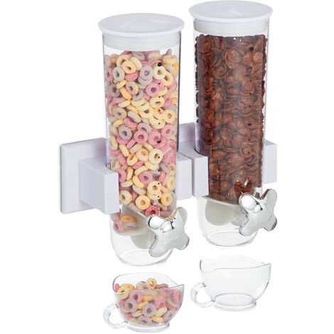 """main image of """"Relaxdays double cereal dispenser, wall mount, cornflake holder, nut spender, 2 containers, made of plastic, in white"""""""
