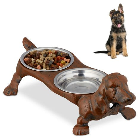 Relaxdays Double Dog Bowl Set, Cast Iron Stand, Pet Feeding Station, 200 ml, Stainless Steel, HWD 14x43x20.5 cm, Brown