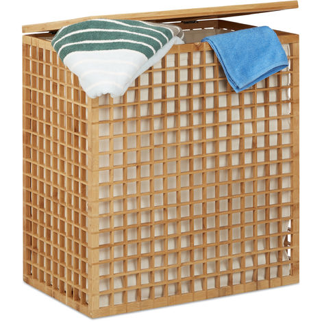 Relaxdays Double Laundry Hamper, 2-Compartment Bin with Removable Laundry Bag, 96 L, HWD: 62x56x35 cm, Natural