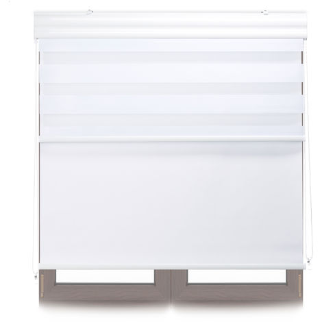 Relaxdays Double Roller Blinds, Opaque Shades, Darkening Thermal Blinds, Combo, 100 x 160 cm, Fabric Width 96 cm, White