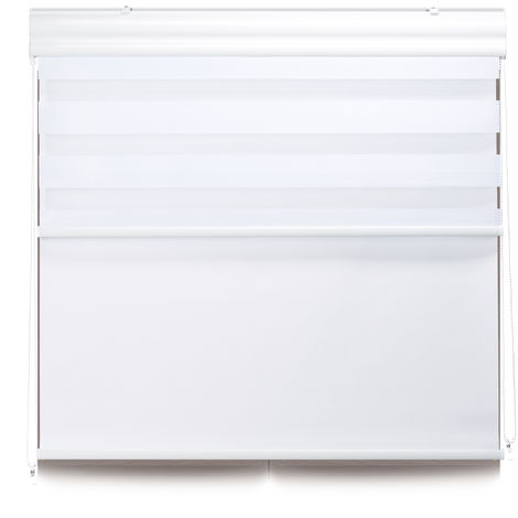 Relaxdays Double Roller Blinds, Opaque Shades, Darkening Thermal Blinds, Combo, 110 x 160 cm, Fabric Width 106 cm, White