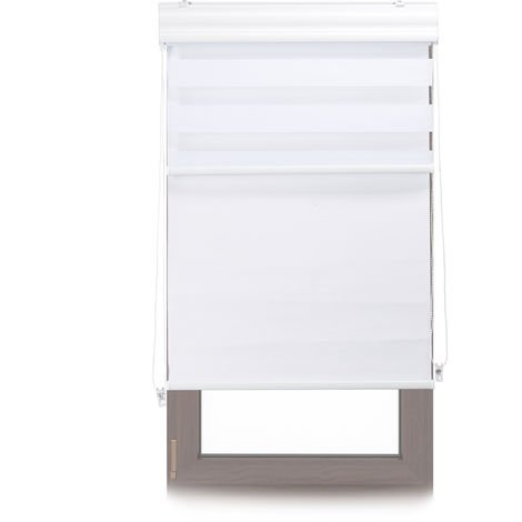 Relaxdays Double Roller Blinds, Opaque Shades, Darkening Thermal Blinds, Combo, 70 x 160 cm, Fabric Width 66 cm,White