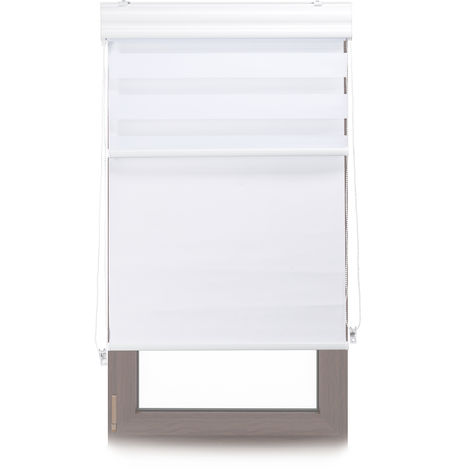 Relaxdays Double Roller Blinds, Opaque Shades, Darkening Thermal Blinds, Combo, 80 x 160 cm, Fabric Width 76 cm, White