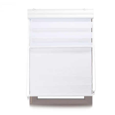 Relaxdays Double Roller Blinds, Opaque Shades, Darkening Thermal Blinds, Combo, 90 x 160 cm, Fabric Width 86 cm, White