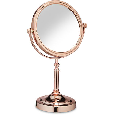 Relaxdays Double-Sided Magnifying Makeup Mirror, 360° Swivel Design, Cosmetics, H x W x D 32 x 20 x 12 cm, Rose Gold