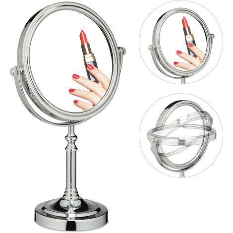 Relaxdays Double-Sided Magnifying Makeup Mirror, 360° Swivel Design, Cosmetics, H x W x D 35.5 x 22.5 x 12 cm, Silver