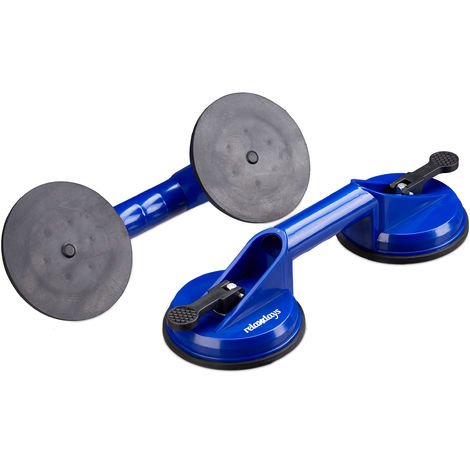 Relaxdays Double Suction Cups Set of 2, Heavy Duty Glass Lifting, Vacuum Pads, Transport Handle, 80 kg, Ø 12 cm, Blue
