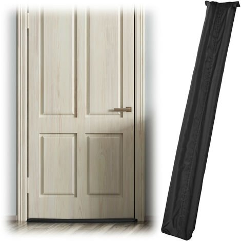 Relaxdays Draught Excluder for Doors, Two-Sided, Draft & Cold Blocker, Fabric, 90 cm Long, Black