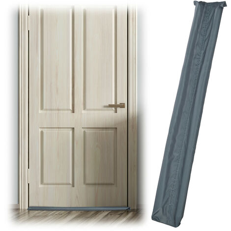 Relaxdays Draught Excluder for Doors, Two-Sided, Draft & Cold Blocker, Fabric, 90 cm Long, Grey