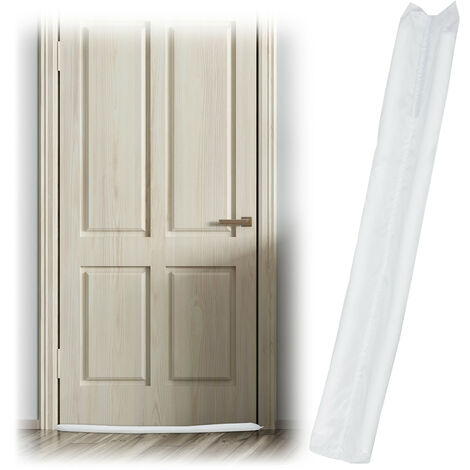 Relaxdays Draught Excluder for Doors, Two-Sided, Draft & Cold Blocker, Fabric, 90 cm Long, White
