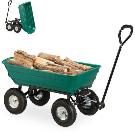 Relaxdays Dump Cart, Garden Wagon Tipping Function, Outdoor Transportation, Steering Axle, Up To 200kg, Air Tires 3.50-4