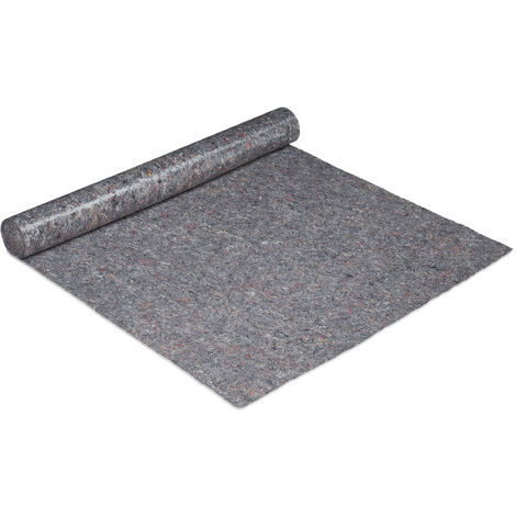 Relaxdays dust sheet, floor protection, 1 m x 10 m = 10m², non-slip, 300g/m² thick, protective film for painters, grey