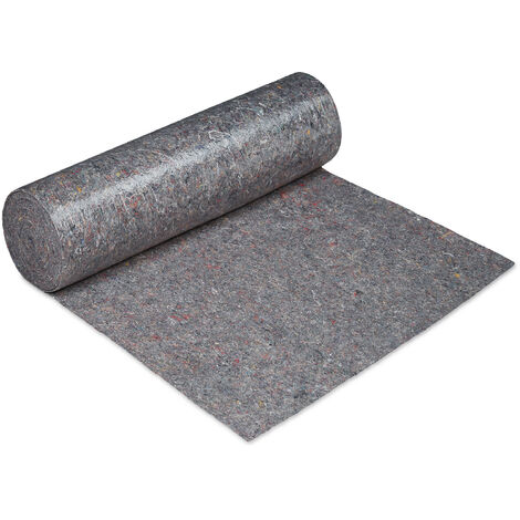 Relaxdays dust sheet, floor protection, 1 m x 50 m = 50m², non-slip, 300g/m² thick, protective film for painters, grey