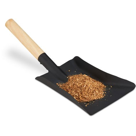 Relaxdays Dustpan with Wooden Handle, Fireplace Tool, Coal Shovel, BBQ, Steel Ash Scoop, 42 cm, Black