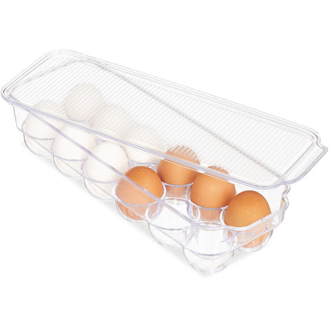 Relaxdays Egg Holder, 12 Pieces, Box for Fridge, With Lid, Stackable, Plastic, Transparent