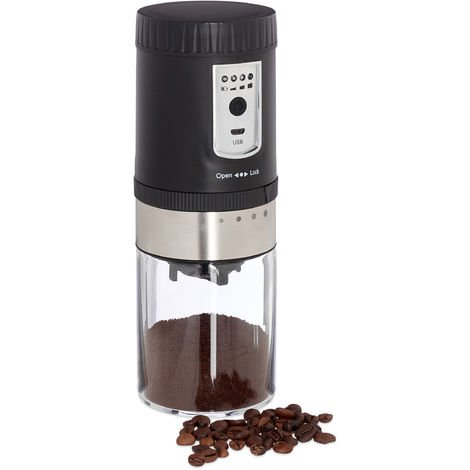 Relaxdays Electric Coffee Grinder, Ceramic Grinding Mechanism , USB Cable, Portable Mill, Stainless Steel, Silver/Black