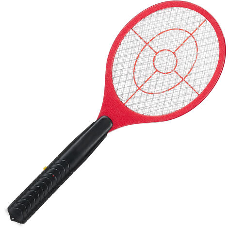 Relaxdays Electric Fly Swatter, No Chemicals, Zapper Against Mosquitos & More, Insect Killer, Red