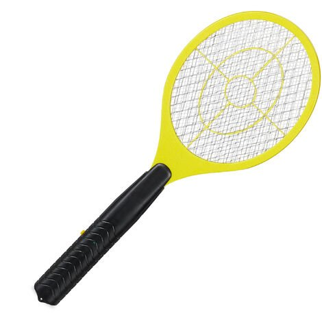 Relaxdays Electric Fly Swatter, No Chemicals, Zapper Against Mosquitos & More, Insect Killer,Yellow