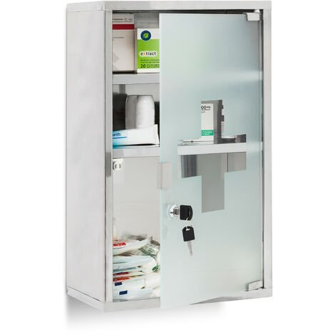 Relaxdays EMERGENCY Medicine Cabinet XL, Stainless Steel, 50.5 x 30 x 18 cm with 3 Shelves And Glass-Door, Lockable With 2 Keys, Silver