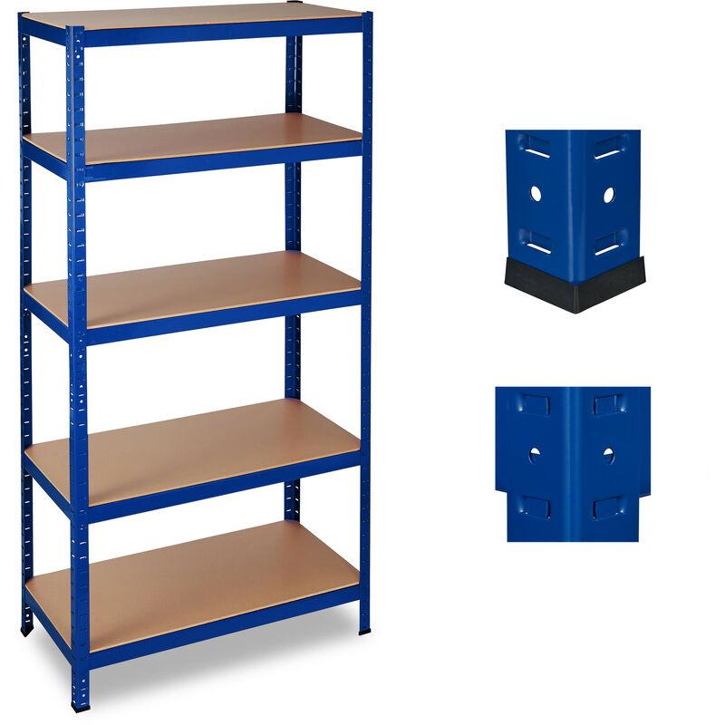 Relaxdays - Étagère charge lourde, Meuble de rangement à clip, Cave charge 1325 kg, garage, HlP 180x90x45 cm, acier, bleu