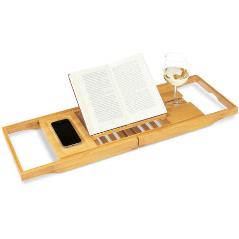 Relaxdays Extendable Bathtub Caddy, Bamboo Bath Tray with Bookstand for Your Toiletries, Natural