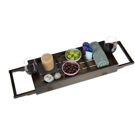 Relaxdays Extendable Bathtub Cady, Bamboo Bathroom Tray, Compartments for Soap & Phone, Wine Glass Holder, Dark Brown